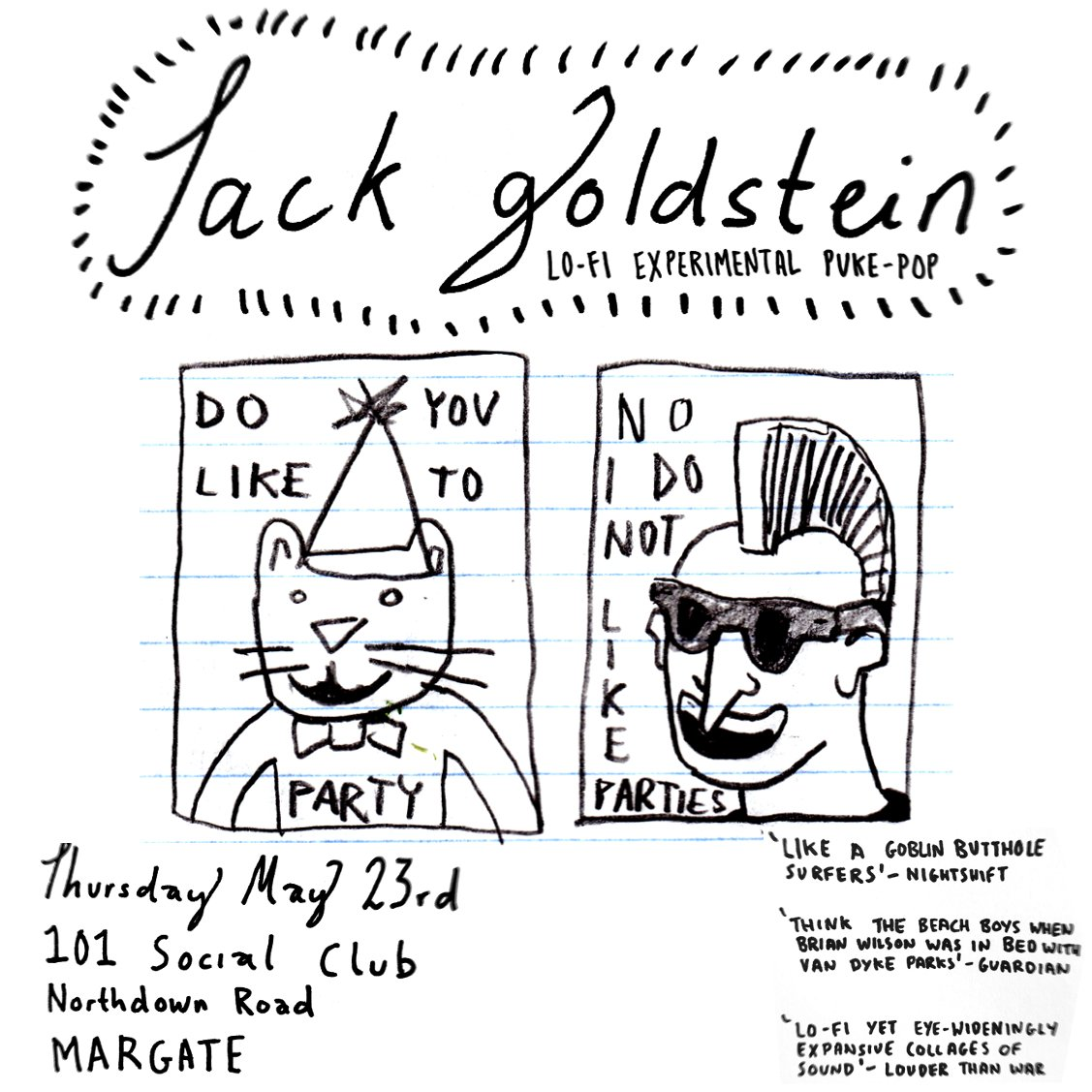 MARGATE! I'm playing at @101SocialClub on MAY 23rd! Bring along your phallic sticks of rock and lets smash  them in the same way we smash the patriachy... against some linoleum  flooring that is sticky with Jägermeister! 🥰 #margate #101socialclub #seaside