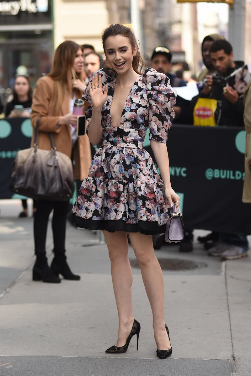 5ec2399d56b ...  braless  cleavage  leggy http   blog.celeb-for-free.com lily-collins -in-a-low-cut-floral-mini-dress-at-aol-build-in-nyc  …  pic.twitter.com zneCWUkzLk