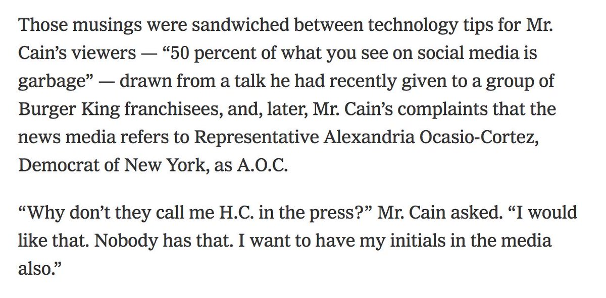 Between nuggets about his possible Fed nomination and advice about what to trust on social media, Herman Cain told viewers of his web show last week that he would like his own @AOC-style nickname in the media. https://www.nytimes.com/2019/04/09/us/politics/federal-reserve-chairman.html…