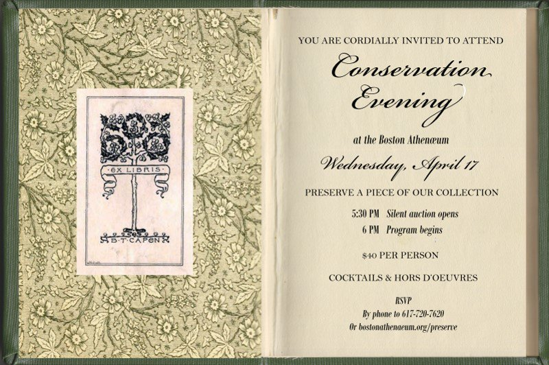 you're invited... next wednesday, april 17, join the @bostonathenaeum for a rare opportunity to view hand-selected treasures from special collections, then bid on your favorite object in a silent auction to sponsor its conservation treatment. https://www.bostonathenaeum.org/preserve #art #history