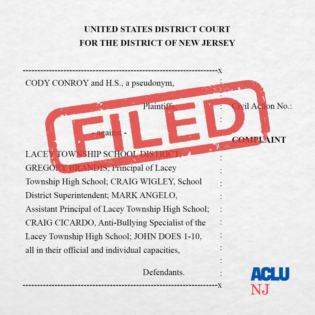 Aclu Sues Education Officials On Behalf >> Aclu Of New Jersey On Twitter Filed Aclu Nj Pashmanstein File