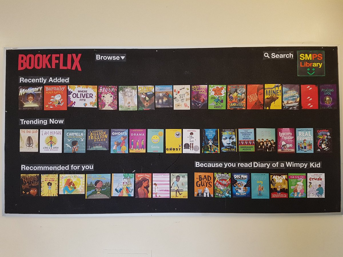 "Had to follow suit and make a ""Bookflix"" board! Sounds like Ss are already 100x more interested in reading than they were yesterday from all the buzz I am hearing about books they want to read. @tdsb_SMPS @ProfLibraryTDSB @SherylZona @LC3_TDSB #bookflix #sparkjoy #loveofreading"