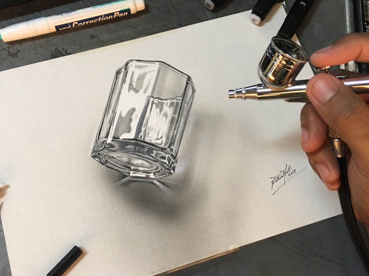 RjBurlat Drawing of glass 🥃 This drawing took me 4 5 hours Mix
