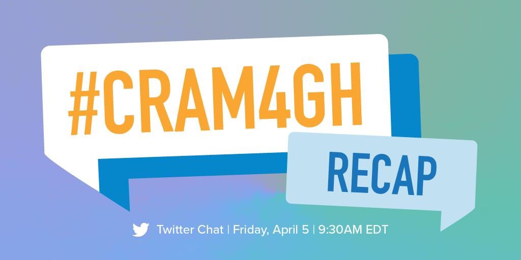 Missed the #CRAM4GH Twitter chat last Friday? View a recap of the conversation here: https://bit.ly/2IvHHkn