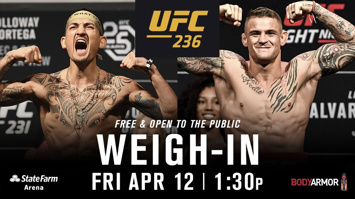 Live from the weigh-ins!  We'll see you at @StateFarmArena following the seasonal press conference! Both FREE & OPEN to the public.  B2YB: @DrinkBODYARMOR https://t.co/gMmGNlJQoJ