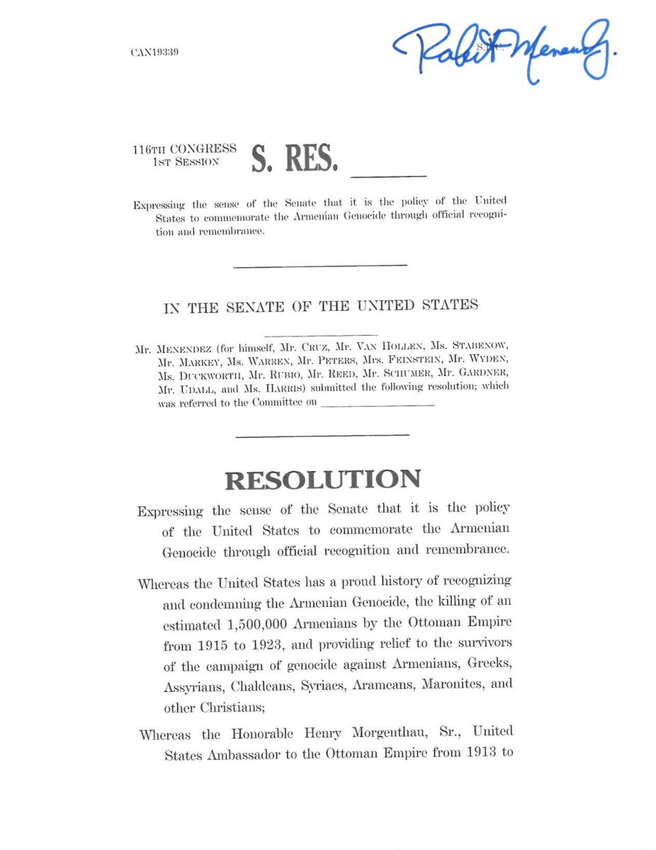 The Armenian Genocide was horrific & U.S. foreign policy needs to reflect that grim reality in order to fully recognize its victims. I'm proud to once again join @SenatorMenendez & @SenTedCruz to introduce a resolution to have Congress formally recognize the Armenian Genocide.