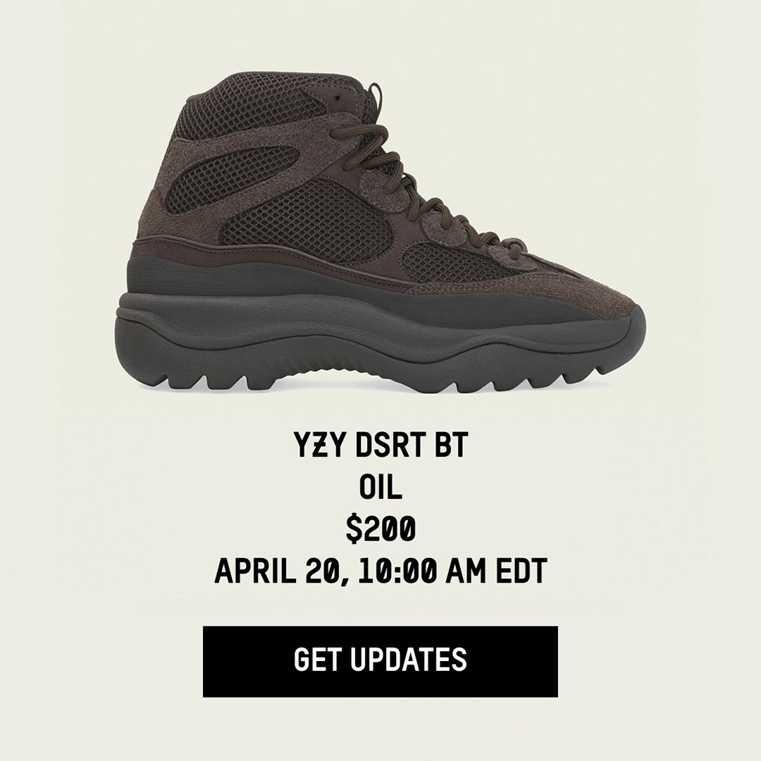 ce3afa7e3af21 The  adidas US Yeezy page has been updated for the Rock and Oil colorways  of the YEEZY DESERT BOOT with release times