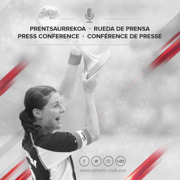 🎙 Présentation  #OneClubWomanAward  📅 Aujourd'hui , 11h45  L'Athletic Club et Malin Moström offrent aujourd'hui à Lezama une conférence de presse de présentation du ONE CLUB WOMAN AWARD 2019 accordé à la la footballeuse suédoise .  #AthleticClub @UmeaIKFF