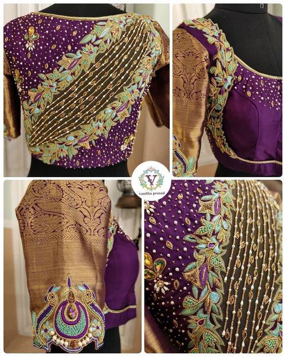 34c1d7d4ebd303 Heavy Purple color maggam work Blouse ...visit here for more #blousedesign  ideas