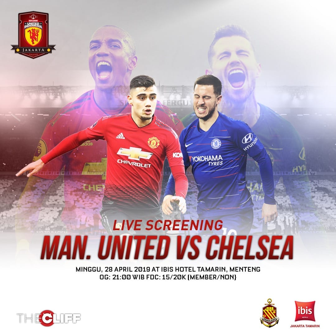 Super Sunday #LiveScreening Manchester United vs Chelsea, at Ibis Tamarin Hotel Menteng, OG: 21.00, FDC 15/20k (member non member) See you there!  #UIJKT