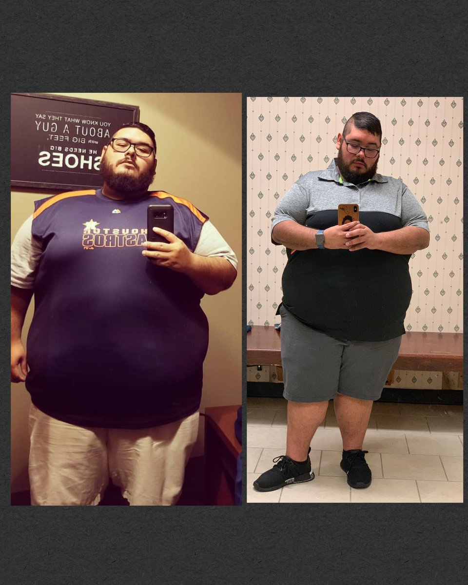 Man, today I dropped another shirt size. In 8 months I've gone from a 4XLT/5XL to a 3XL and I got weighed in and I've hit my first mile stone, 100 pounds down.