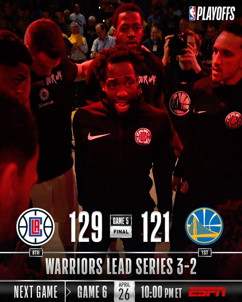 The @LAClippers stay alive with the Game 5 road victory at Oracle! Game 6: Friday (4/26), 10pm/et, ESPN #ClipperNation #NBAPlayoffs