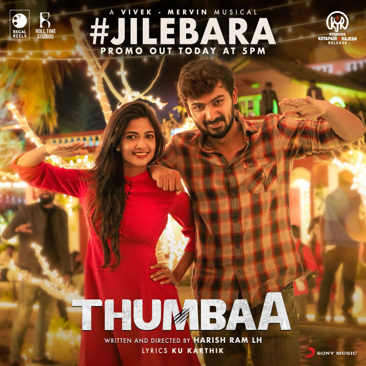 Make way for the next from #Thumbaa! A fun, musical treat from @iamviveksiva & @MervinJSolomon #Jilebara ! Watch out for the promo releasing at 5PM today! 💃🎶   @harishramlh @Darshan_Offl @ikeerthipandian