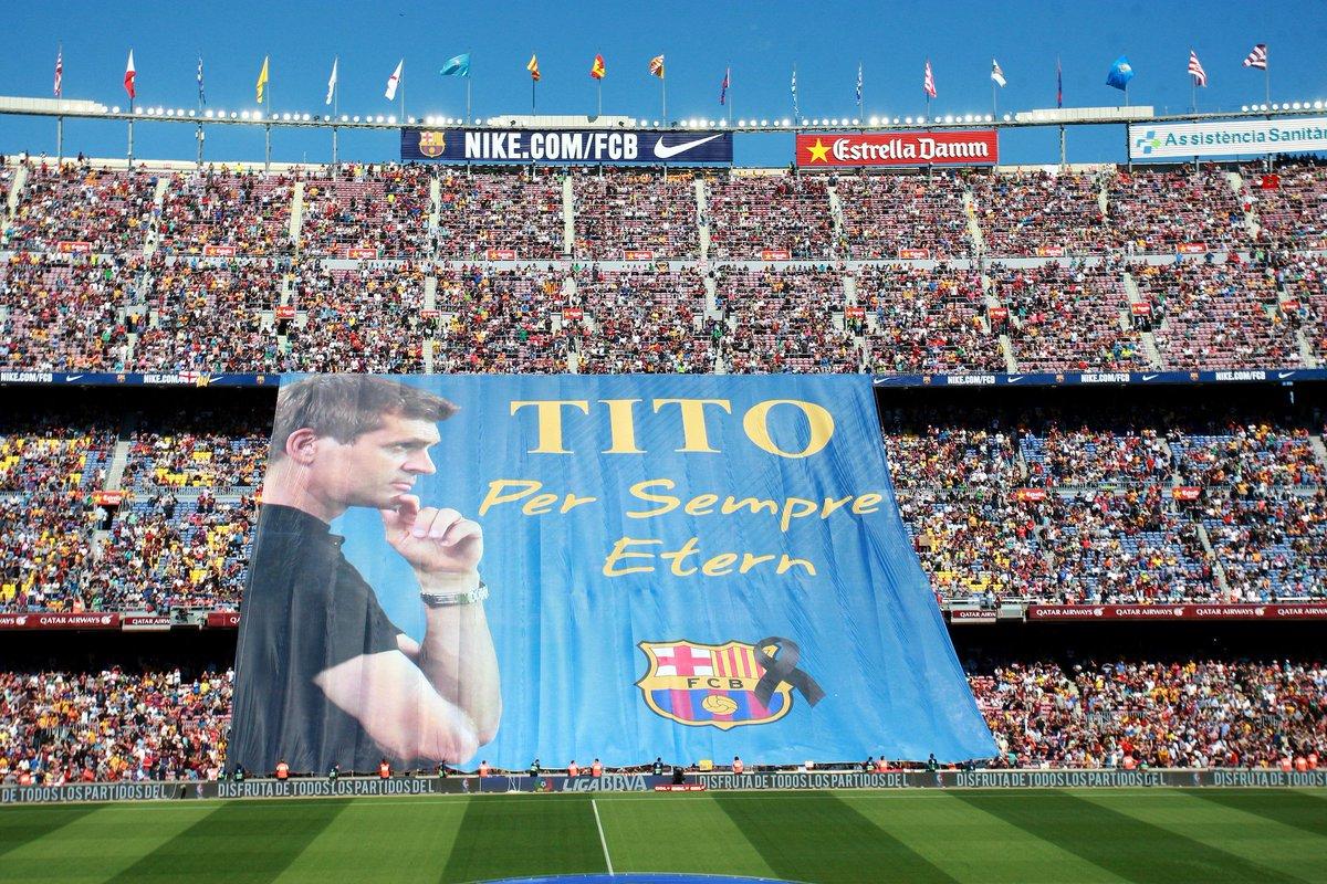 Tifo del Camp Nou a Tito Vilanova.