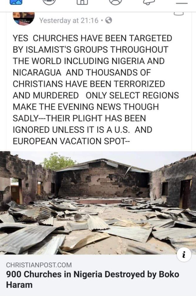 900 churches in Nigeria destroyed by islamistic Boko Haram...