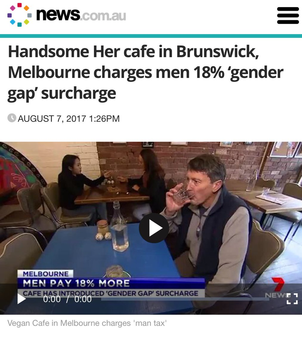 Get woke, go broke. The Melbourne cafe that boasted to the media about charging male customers an 18% gender pay gap 'man tax' and seating women first, is now closing down. <br>http://pic.twitter.com/pX9oIKyQBa