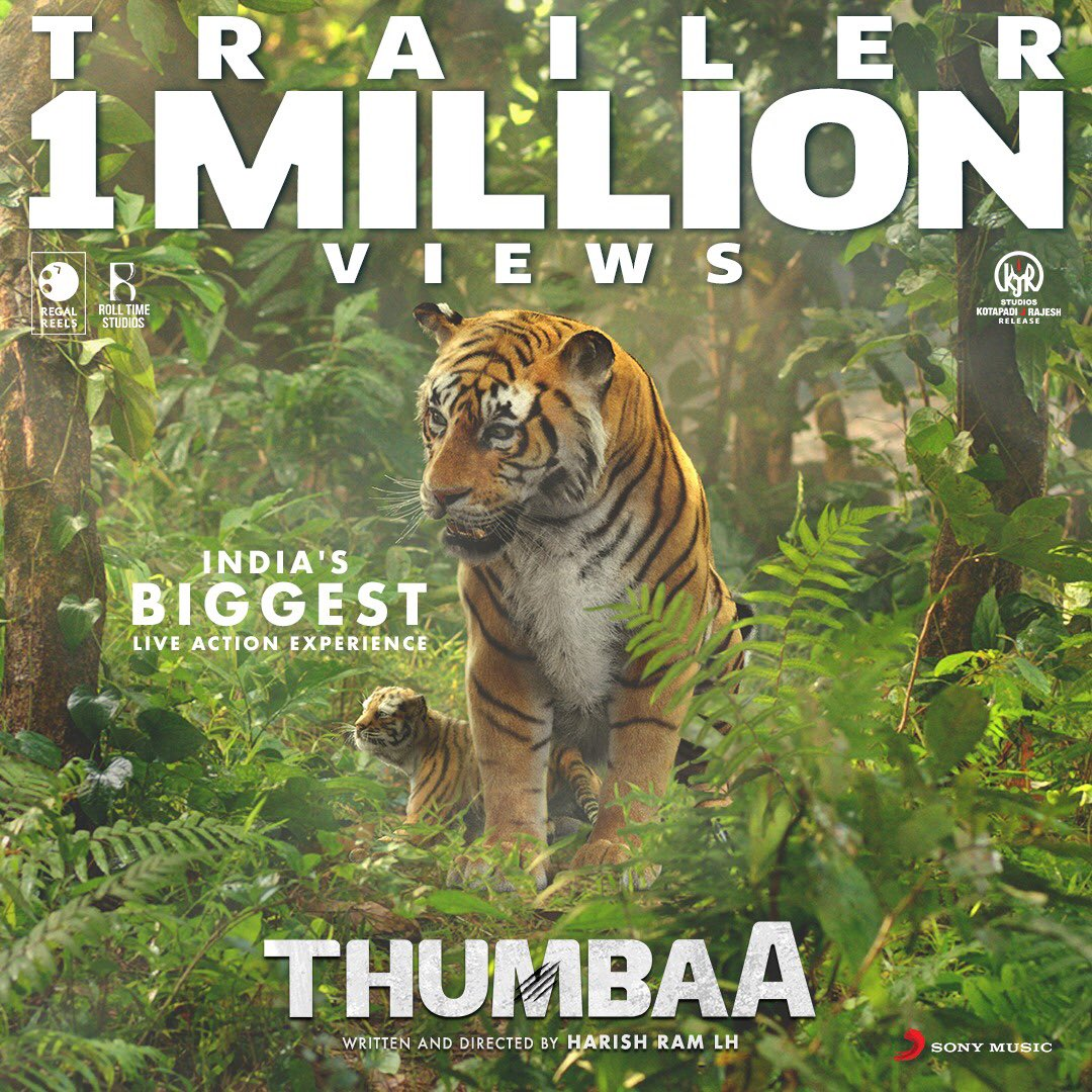 #ThumbaaTrailer 1M + views & 25K likes in less than 24hrs .Such a positive response for our team's sincere effort to deliver something new . Thank u all. :) :)#Thumbaa @RegalReels @rolltimestudios @kjr_studios @Darshan_Offl @ActDheena @ikeerthipandian