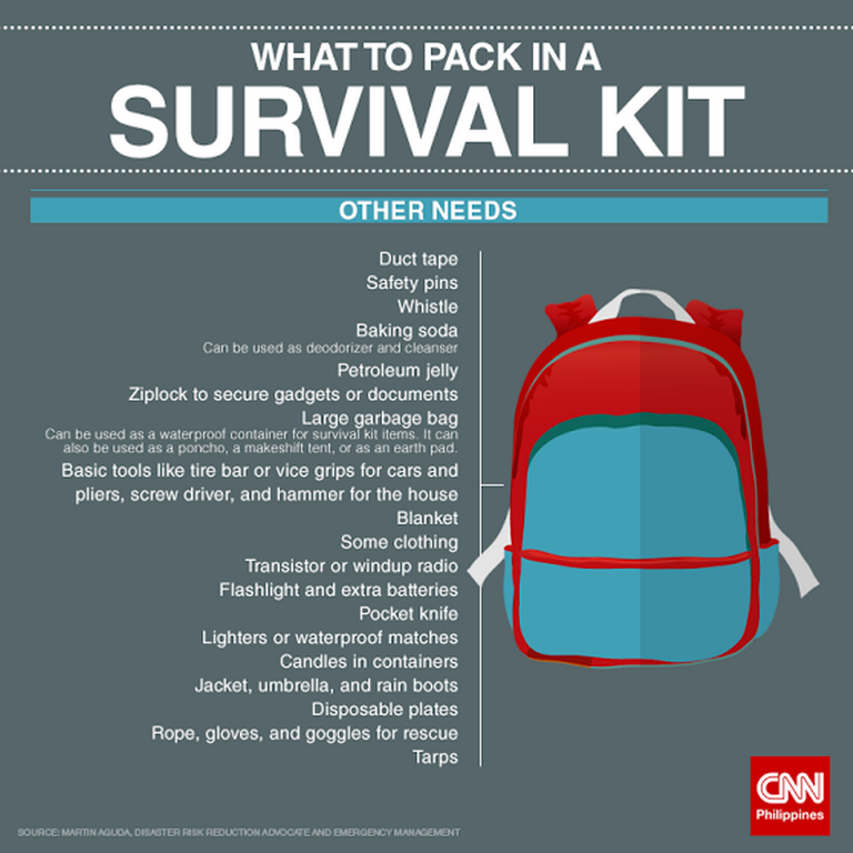After Luzon quake, Visayas is shaken by a magnitude 6.2 tremor. Here are some items you should pack in case disaster strikes. Keep safe http://www.cnn.ph