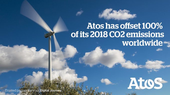 We are proud to announce that @Atos has offset 100% of its 2018 CO2...