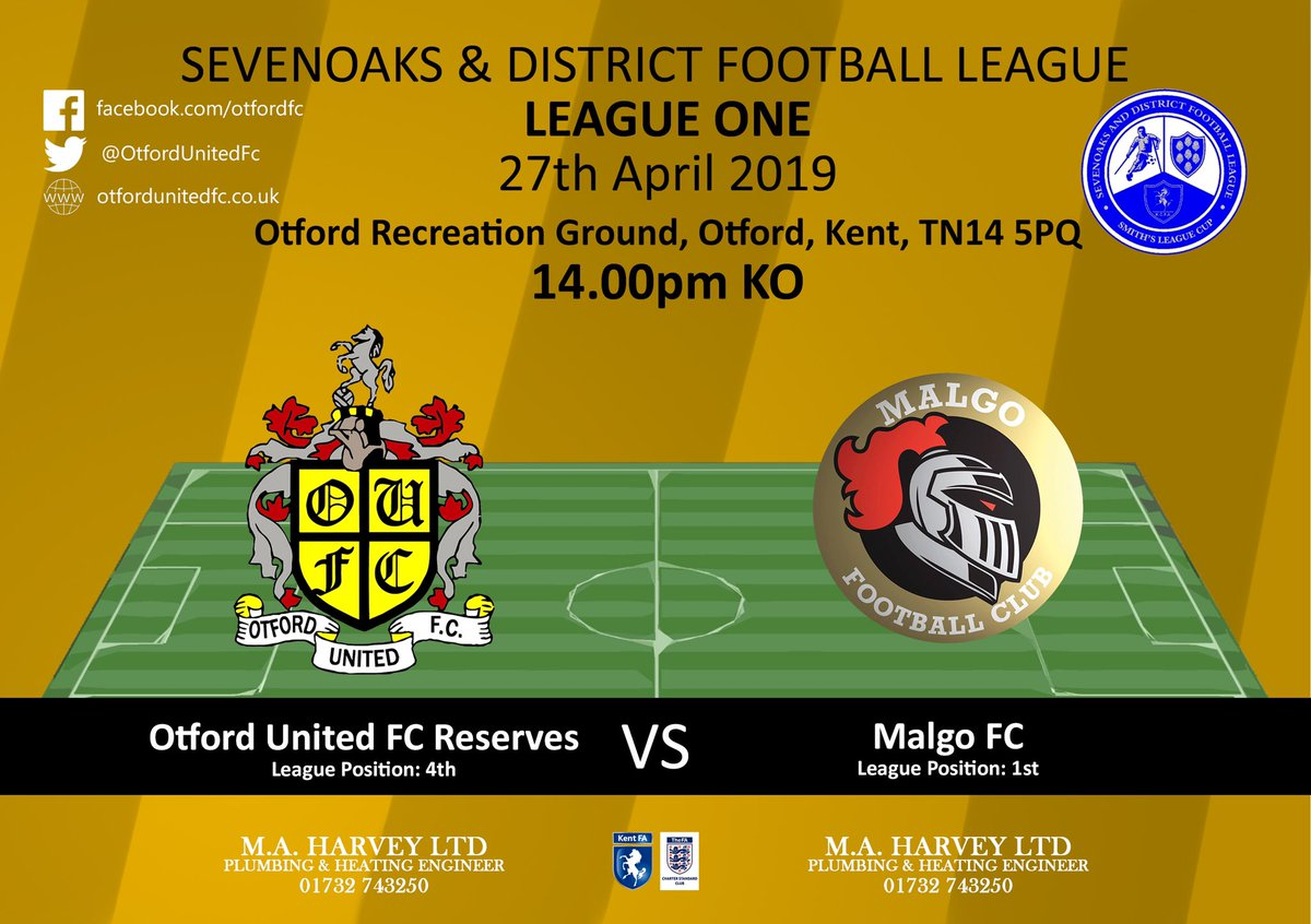 ⚫️🔶⚫️🔶⚫️🔶 ⚽️ Reserves Vs Malgo 📅 27/04/19 🏆 @LeagueSevenoaks  ⏰ 14:00 KO 🏟️ @ The Otford Recreation Ground 💰 FREE 🍺 Bar Open 👨‍👩‍👧‍👦 Come and show your support #COYO