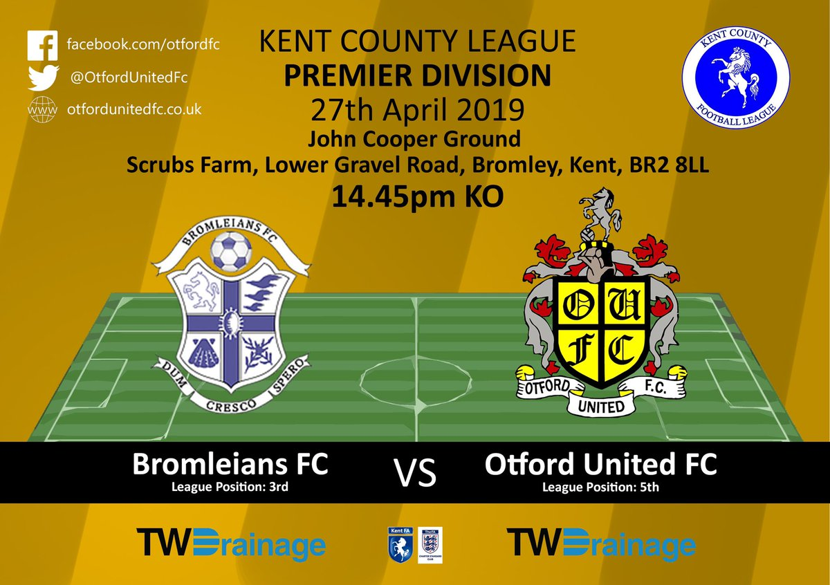WEEKEND FIXTURES: Last games of the 18/19 campaign. ⚫️🔶⚫️🔶⚫️🔶 ⚽️ 1st Vs @Bromleians  📅 27/04/19 🏆 @KCFL_News  ⏰ 14:45 KO 🏟️ @ The John Cooper Ground 💰 FREE 👨‍👩‍👧‍👦 Come and show your support #COYO