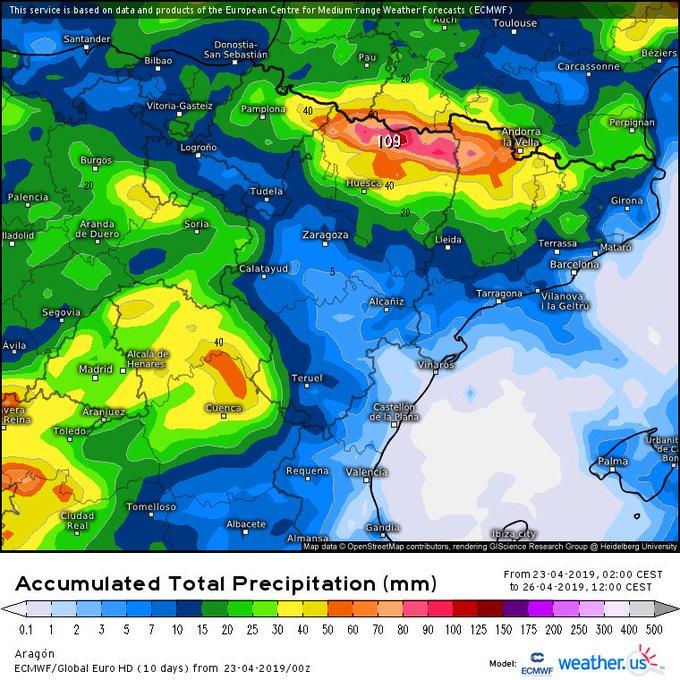 Acumulados importantes de ❄️-🌧️ en el Pirineo desde esta tarde hasta el J  tarde. Algunas zonas de la vertiente sur rondarán los 100mm. La cota variable entre los 1200-2000m. Buena ❄️ a partir de 2000m. Que bien va a venir estas 🌧️-❄️ para las reservas de agua. Situación de Sw.