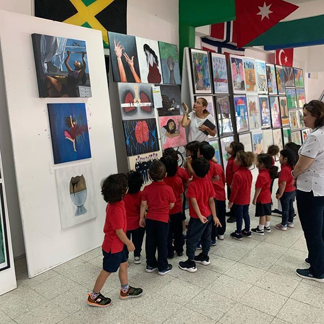 Our young #aisq8prek students on an internal field trip to view the amazing artworks 🖼 #aisq8 #aisq8arts http://bit.ly/2PmHKjN