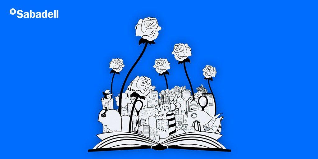 Avui #DiaDelLlibre et desitgem un feliç #SantJordi des de @BancSabadell en el #BCNOpenBS 🌹📚 #OpenArtySabadell