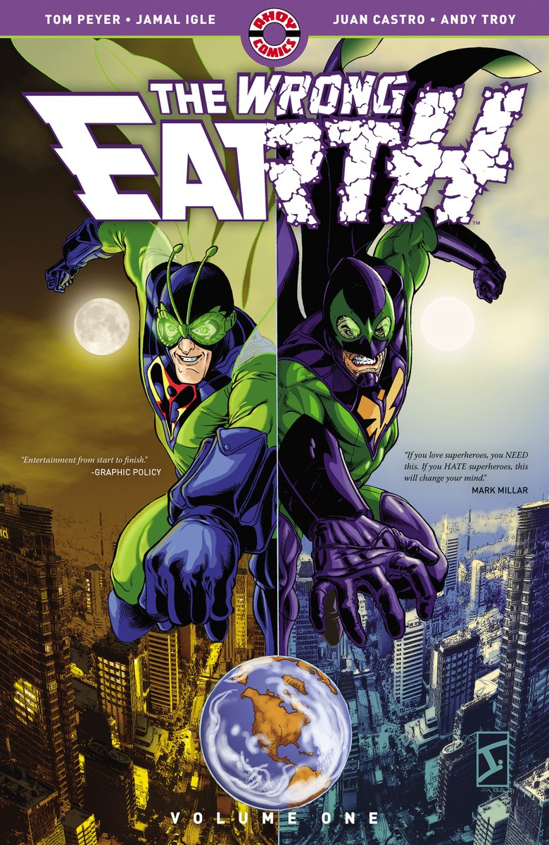 """Have you discovered THE WRONG EARTH?   """"If you love superheroes, you NEED this. If you HATE superheroes, this will change your mind.""""―@mrmarkmillar  On sale in May: * @findacomicshop: https://www.comicshoplocator.com/ * @indiebound: https://www.indiebound.org/indie-bookstore-finder… … * Or: http://tinyurl.com/y2pspujg"""