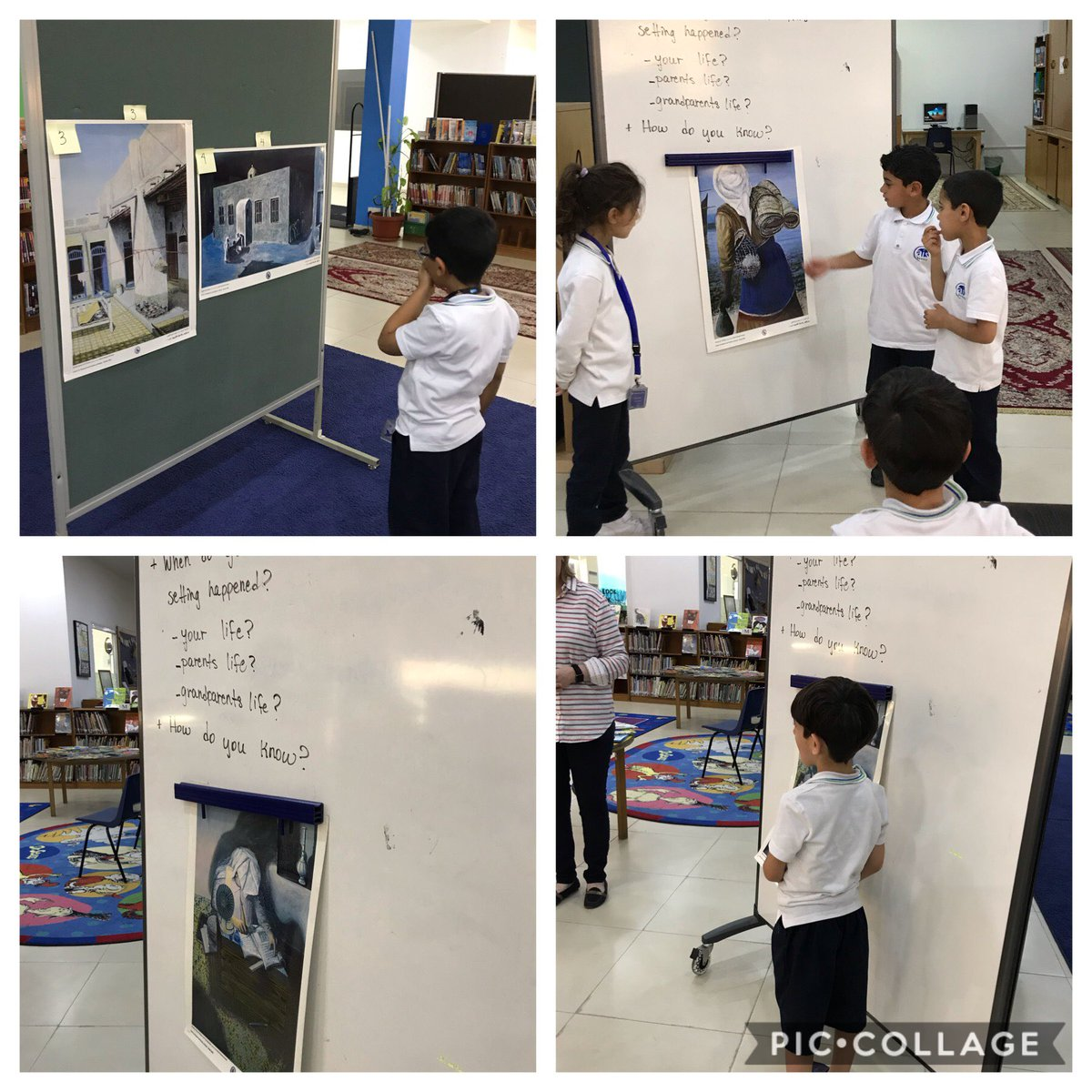 G1 students inquire  about Kuwait's past - when were these paintings set? #WWAPT #inquiry #aisq8