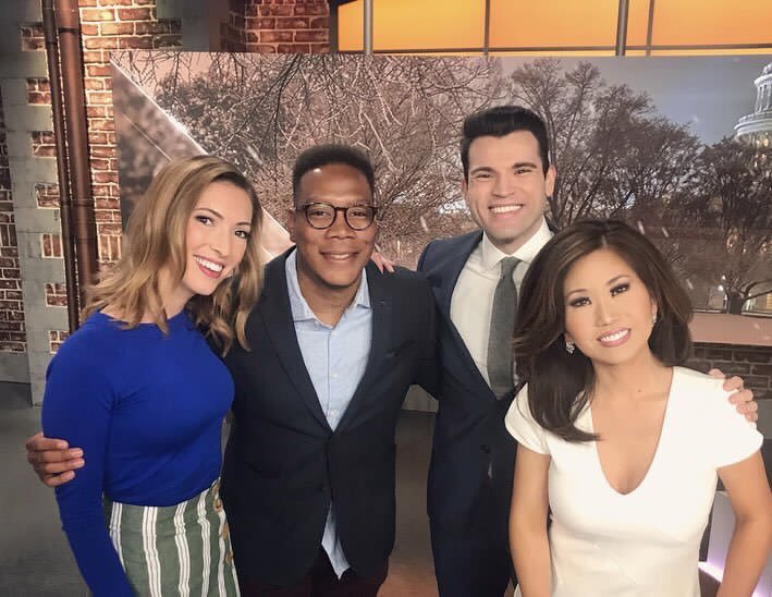 With such a lovely day on tap... throwback to last snow day where either me or @reesewaters look like we have a super awkwardly long arm.  #GetUpDC #TuesdayMorning<br>http://pic.twitter.com/GX0AGBrr9w