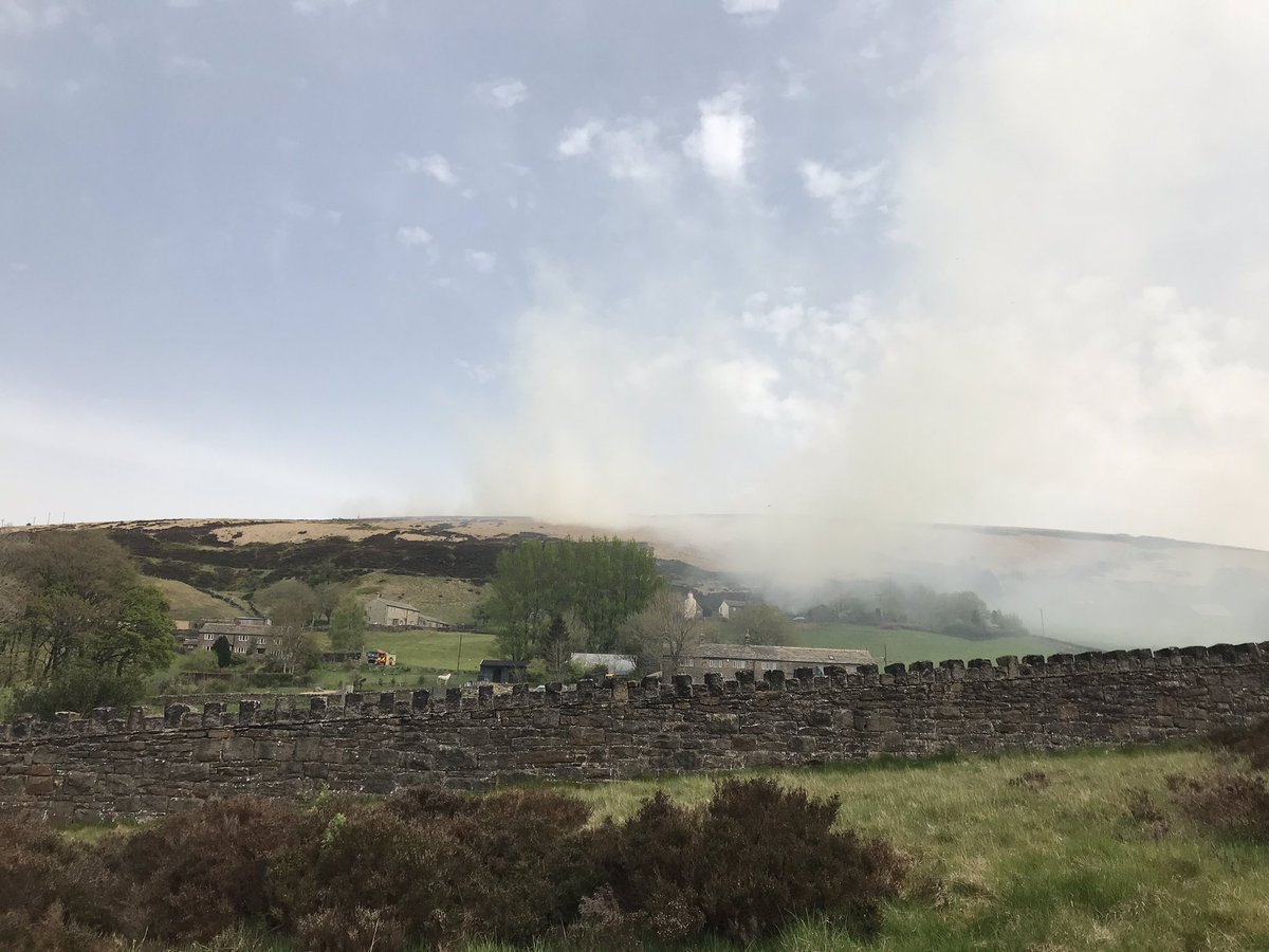 Fire crews from across the country are on Marsden moor, where another fire broke out on Deer Hill this afternoon. A farmer's told us they're worried about their livestock. #CapitalReports