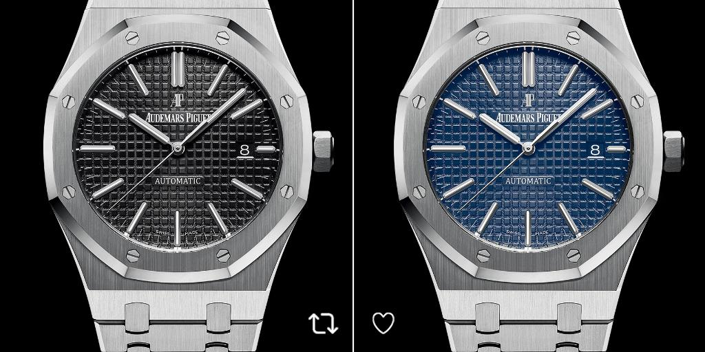 Blue or Black? Which #RoyalOak will suit you best today? RT for black dial or like for blue dial. https://t.co/6xq5P0D2mQ https://t.co/vFYy35v71J https://t.co/CvPJUtvUbN