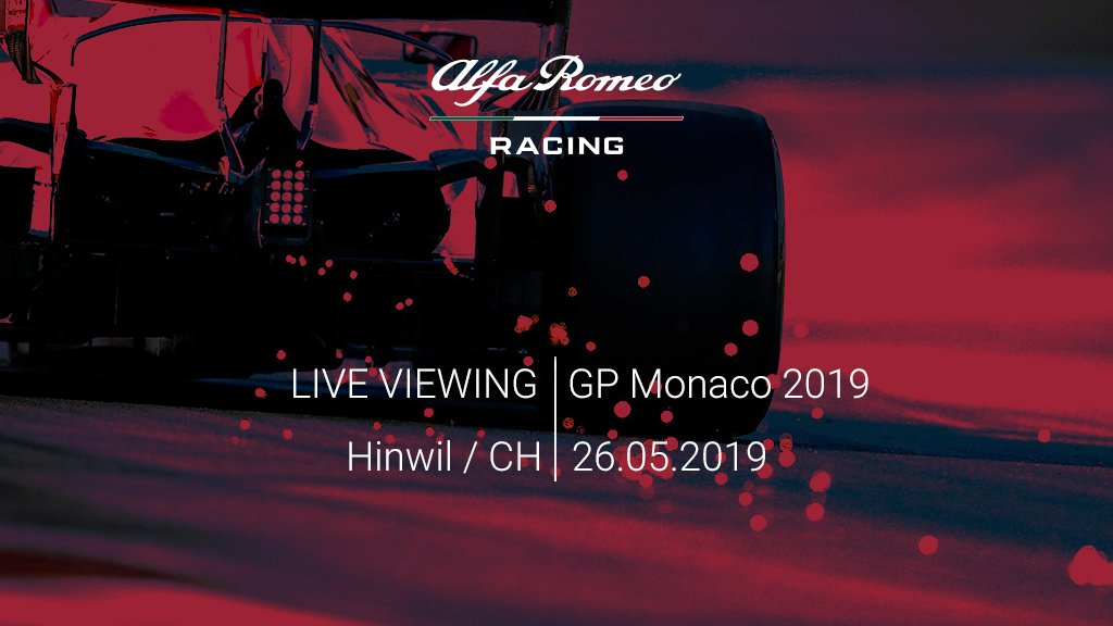 Want to experience the #MonacoGP in a unique way? Save the date! 📆  Our Live Viewing Event is back for the @F1 mythical race!   Join us at our Hinwil HQ on Sunday 26th of May.   + info 👉 https://bit.ly/2XFW3CZ    #GetCloser #AlfaRomeoRacing