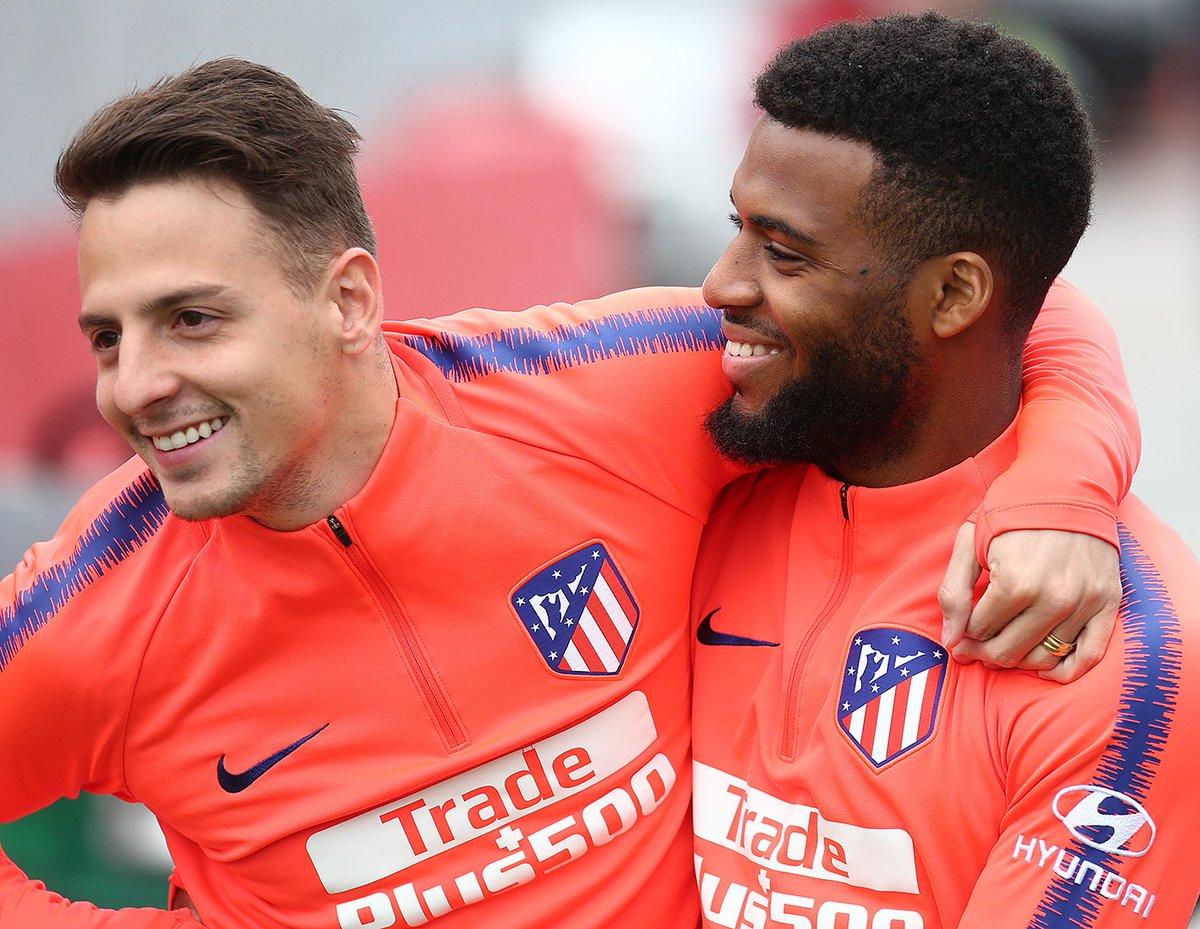 Arias y Lemar, en la sesión del Atlético (Foto: ATM).
