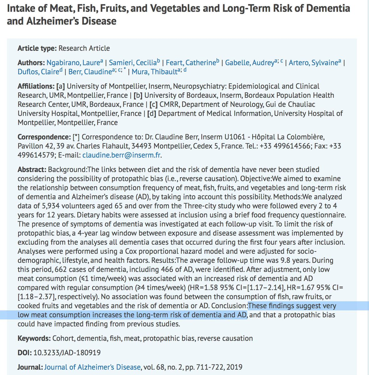 Food for Thought from France: Lower meat consumption and long-term risk of Dementia, Alzheimers. Vitamin B12 is found in meat, not plants.   B12 Deficiency is a known cause of memory loss, cognitive problems, cerebral atrophy. <br>http://pic.twitter.com/zfal3hhlzp