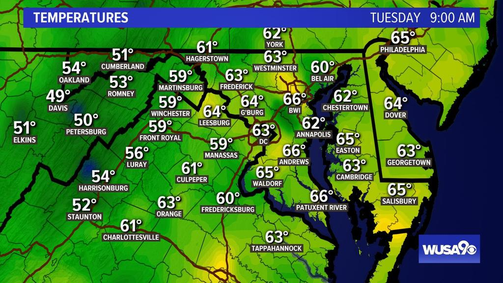 Hey DC! 9 AM temps...get the forecast here:  https:// on.wusa9.com/1DtTZ19  &nbsp;   #WUSA9Weather #WEATHER #DCWX #MDWX #VAWX<br>http://pic.twitter.com/7koCE5BE5b
