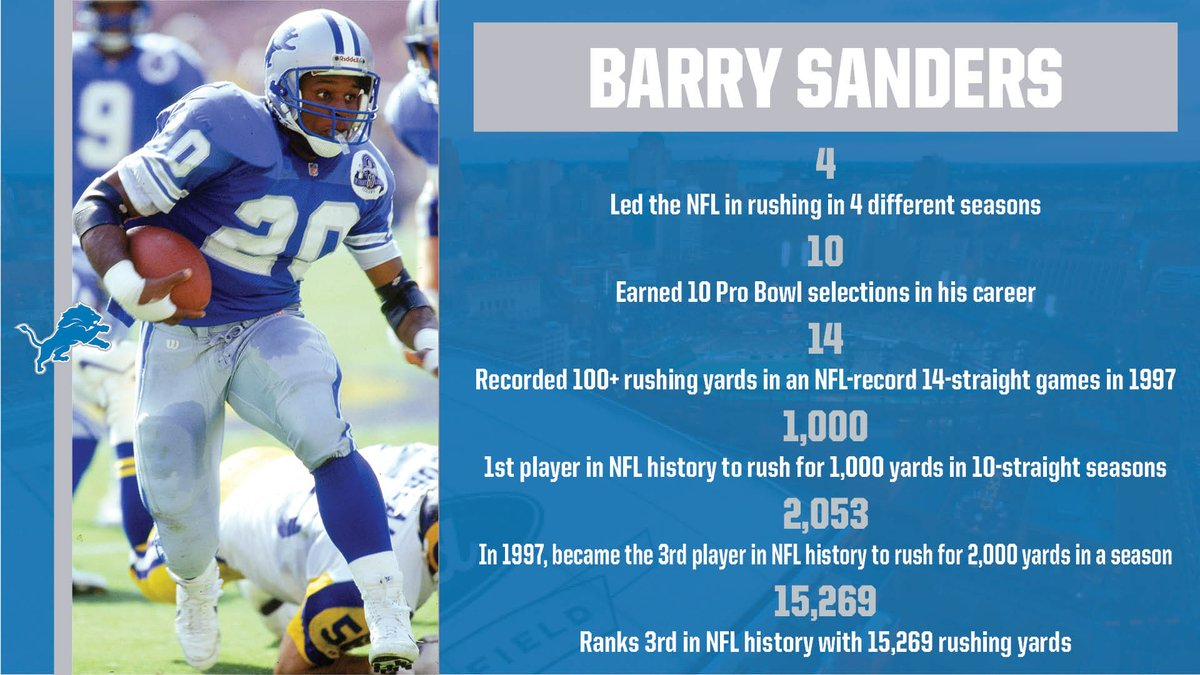 On this day 30 years ago, the @Lions selected @CowboyFB RB @BarrySanders with the 3rd pick in the 1989 NFL Draft.  Sanders was enshrined in the @ProFootballHOF in 2004, was the @NFL MVP in 1997 and was a 6-time AP All-Pro selection.  Below is a look at his career by the numbers: