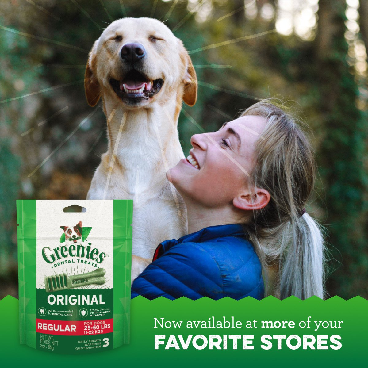 Now you can find GREENIES Dental Treats at more of your favorite stores. Grab a pouch of delicious GREENIES on your next trip to Wal-Mart, Target, Walgreens, Kroger, Meijer and more.  #GREENIES #DogTreats https://t.co/FMctPX86Q6 https://t.co/8qWspY37SB