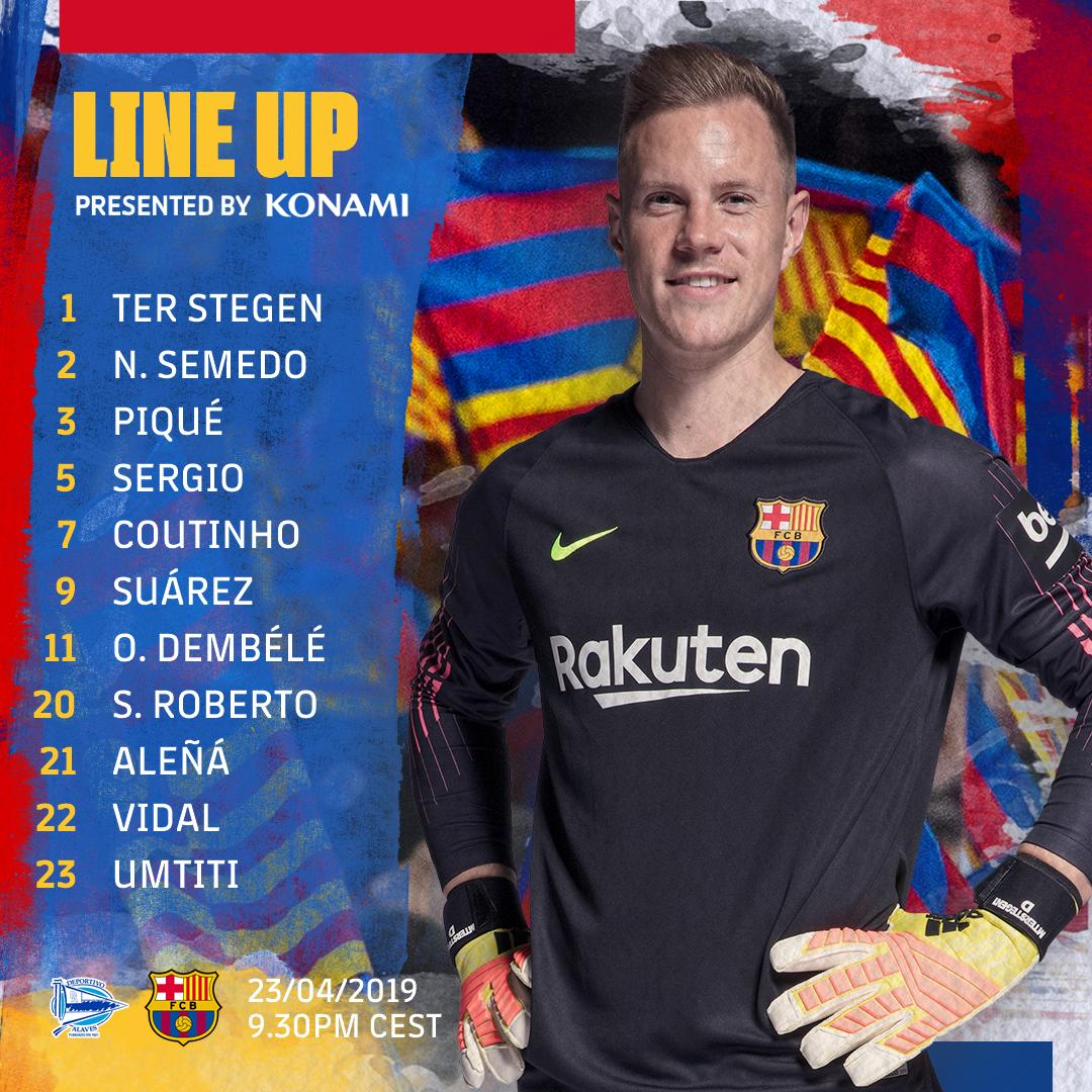 Official: Starting XI vs Alaves tonight.  Dembélé and Coutinho both starting, Messi benched.