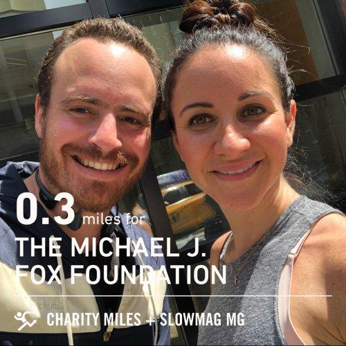 0.3 @CharityMiles for @MichaelJFoxOrg. Thx #SlowMag for sponsoring me.