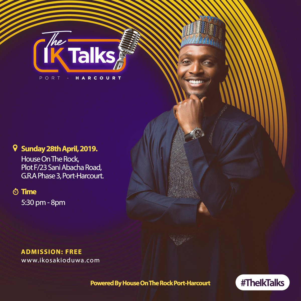 """Port Harcourt I'm looking forward to our time together. If you're developing a career that involves """"Public Speaking"""", this one's for you. Shout out to House On The Rock PH for powering this. #TalkDoesntNeedToBeCheap #TalkForALiving #AfricasFinest #ikosakioduwa #houseontherockph pic.twitter.com/lQCPnPIRaF"""
