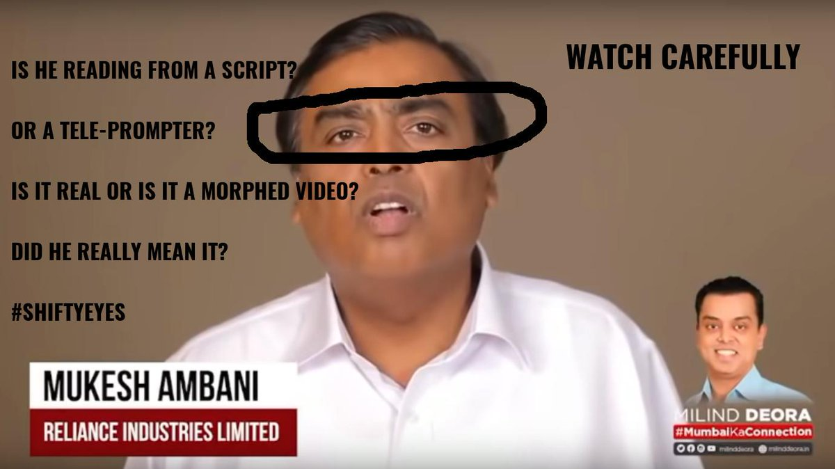 @BBCIndia Is he reading from a teleprompter? Was he forced to say this? Is the  video real or morphed? Just look at Mukesh Ambani's eyes in the  video...The world's 13th richest man couldn't even say anything  impromptu? #shiftyeyes https://t.co/KRMW61yMEe