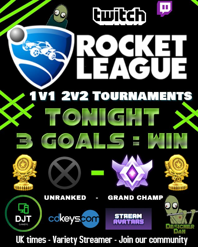 It&#39;s tournament tuesday on #ROCKETLEAGUE tonight. Join us for a few beers and a couple of Spinny gold trophies.   http:// twitch.tv/DJTgamers  &nbsp;    It&#39;s Party Time  #SupportSmallStreamers #twitch #westreamers #SupportAllStreamers @FearRTs @TwitchTVGaming<br>http://pic.twitter.com/npnFal5Ppj