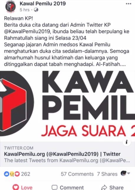 Relawan @KawalPemilu2019 , Berita duka cita datang dari Admin Twitter @KawalPemilu2019 :