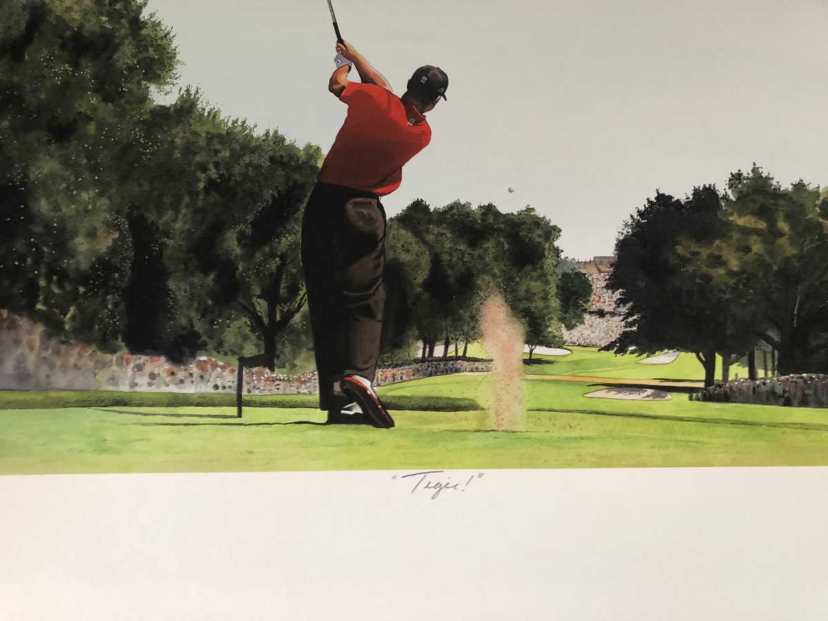 Who wants this amazing Tiger Woods Masters portrait? Must follow @MikeLsports and re-tweet this. Ends this Friday at 5 PM EST! @MichaelCBackus @BrianJacobsgolf @rudedogreyes @Playlikeajet1 @GolfFanatic18 @GCTigerTracker @iTIGERSHROFF @TigerWoodsShow. ⛳️🐅