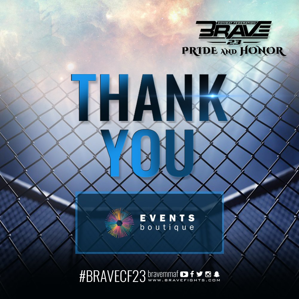 This milestone for the sport was only possible due to the unconditional support of Brave 23 partners and sponsors. Thank you for taking care of Brave fighters, the most passionate fans in the world, and being part of this historic event. #BraveCF23