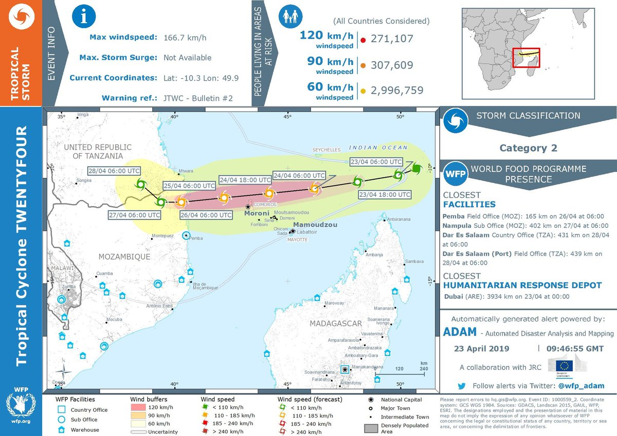🚩Concerns grow with a new #cyclone alert that would affect #Mozambique this week.   More info from @WFP_ADAM disaster alert 👇🏿