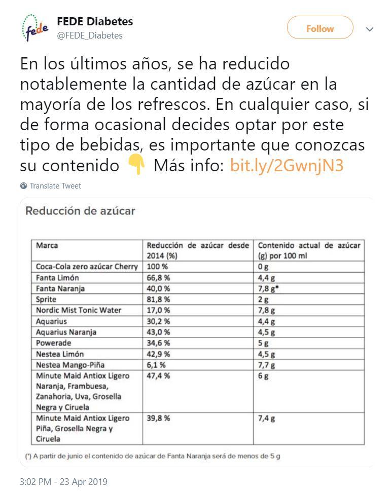 8470c41403 La Federación Española de Diabetes recibió 50.000€ de Coca Cola a cambio de  la difusión de sus bebidas. @FEDE_Diabetes @CocaCola_espic.twitter.com/ ...
