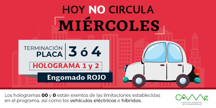 ¡Buenos días! El #HoyNoCircula del miércoles 22 de mayo en la #ZMVM aplica para vehículos con #EngomadoRojo con terminación de placas 3 y 4, holograma 1 y 2. #CAMegalópolis